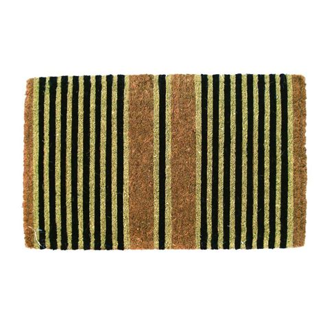 fiber doormats entryways ticking stripes black 18 in x 30 in