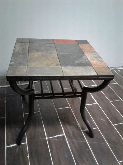 black iron slate tile coffee and end table furniture in