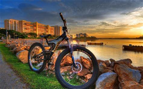 City, Costa, Bicicleta, Pôr Do Sol Papéis De Parede