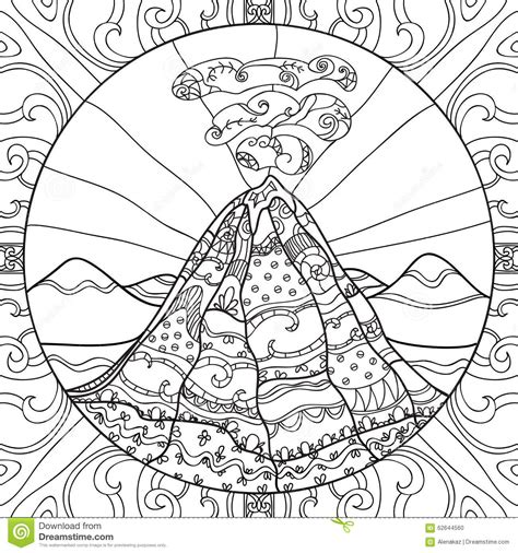 coloring page  volcano stock vector image
