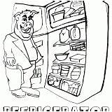 Refrigerator Coloring Colorings sketch template
