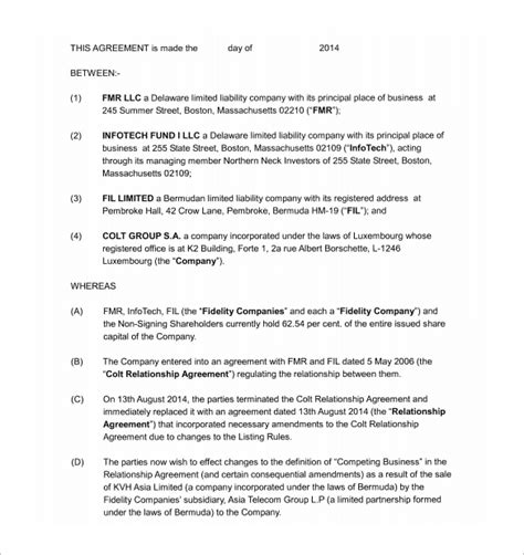 sample relationship agreement templates