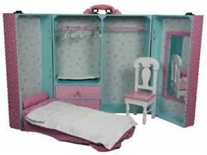 Queen's Treasures PINK BEDROOM TRUNK & FURNITURE Bed Desk for American Girl NEW