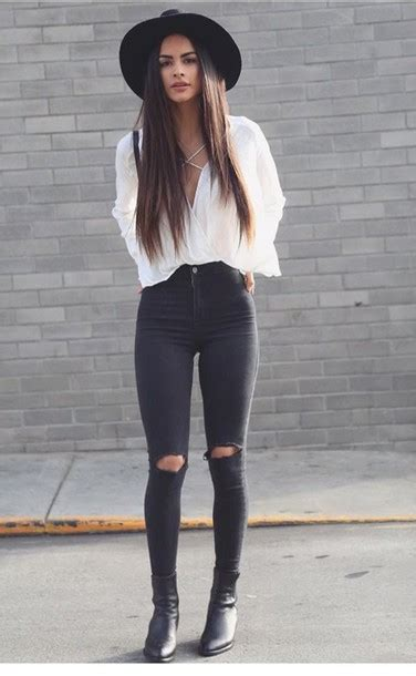 Blouse white fashion outfit outfit idea fashion inspo jeans jeans black black jeans ...