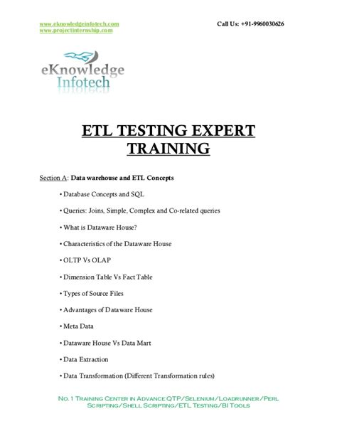 Etl Testing Sle Resume For Experienced by Etl Testing Contents