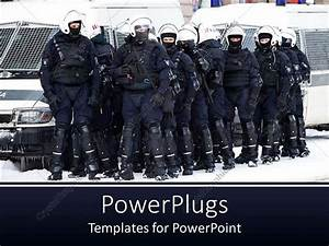 Powerpoint Template  Group Of Riot Police Officers Ready