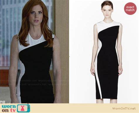 wornontv donnas black  white colorblock dress
