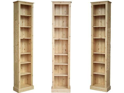 Low Narrow Bookshelf by Solid Pine Or Oak 7ft Narrow Slim Jim Bookcase Bath