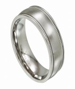 Stainless steel wedding ring for men with milgrain edges for Stainless steel mens wedding ring