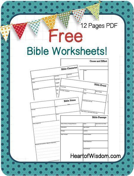 free bible worksheets from heartofwisdom great for