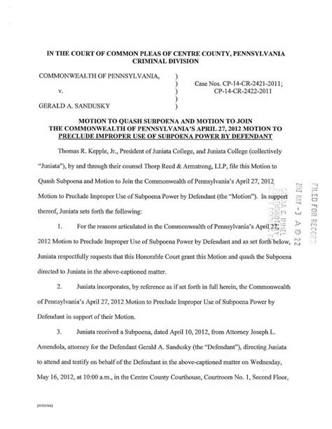a sle subpeona form for ohio motion to quash subpoena and motion to join the