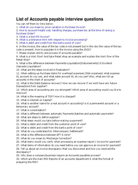 Questions To Ask In An For Accounts Payable Position by List Of Accounts Payable Questions