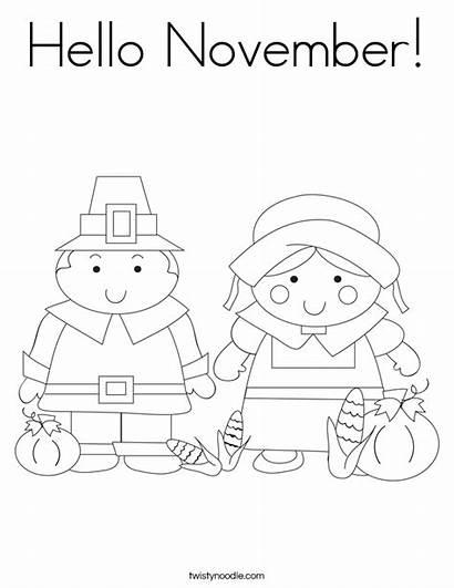 Coloring November Hello Worksheet Sheets Pages Thanksgiving