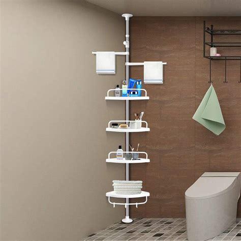 aerobath  tier adjustable shelf bathroom organiser telescopic shower corner rack caddy nail