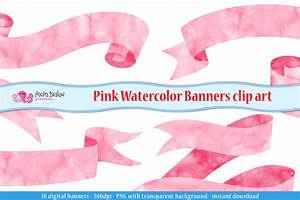 Pink watercolor banner clipart by Polpo Design