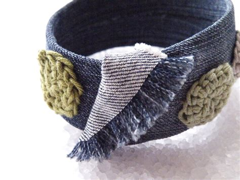 hippie denim bangle bracelet recycled plastic jeans