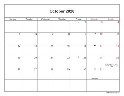 october  calendar printable  bank holidays uk