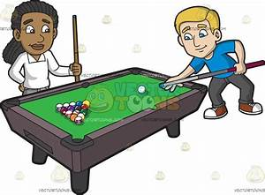 Two Guy Friends Starting A Game Of Pool Cartoon Clipart ...