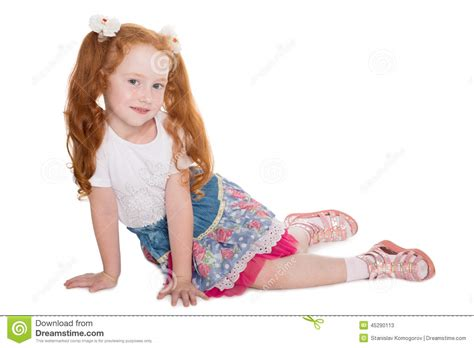 Little Girl With Red Hair Sitting Stock Photo Image