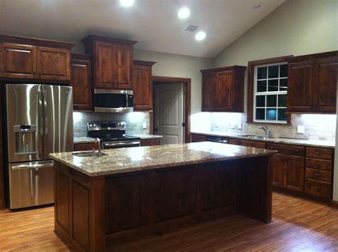 love   kitchen knotty alder cabinets sienna
