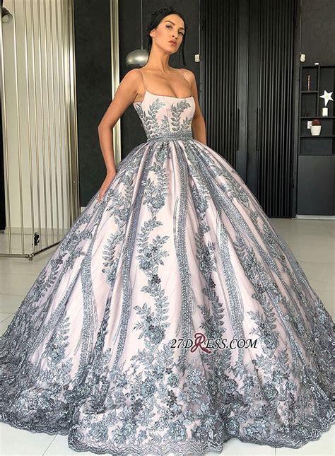 gorgeous spaghetti strap sleeveless prom dress ball gown
