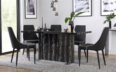 Black Dining Set by Magnus Black Marble Dining Table With 4 Modena Black