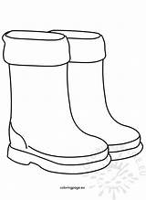 Boots Rain Shoes Children Coloring sketch template