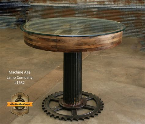 Steampunk Industrial Antique Flat Belt Pulley Table
