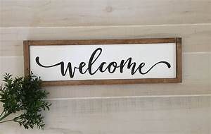 Welcome, Wooden, Sign, 22w, X, 6, 5h, Entryway, Sign