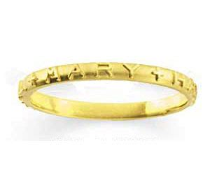 womans hail mary prayer ring   yellow gold