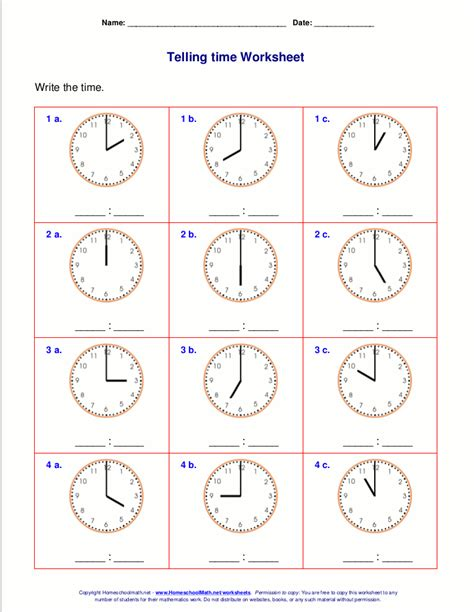 grade time worksheets telling time worksheets for 1st grade school work