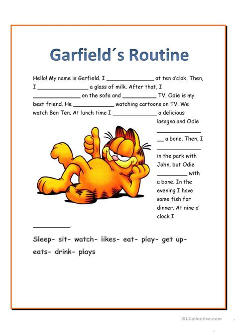 garfields routine worksheet  esl printable