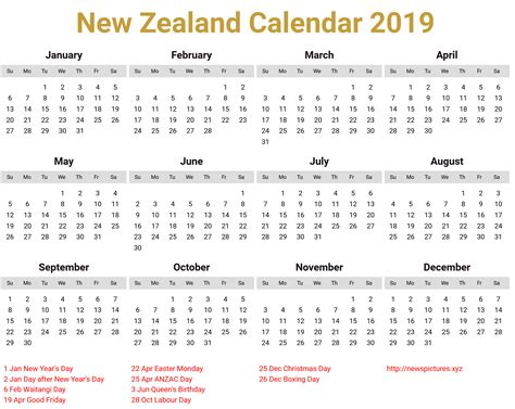 image   zealand calendar   holiday