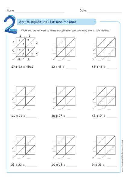lattice method multiplication exles worksheets test