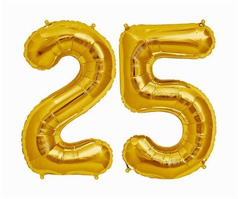 Gold 25 Balloon Gold 25 25th Birthday Balloon Number 25