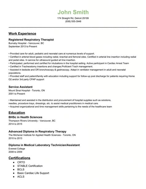 respiratory therapist resume lifiermountain org