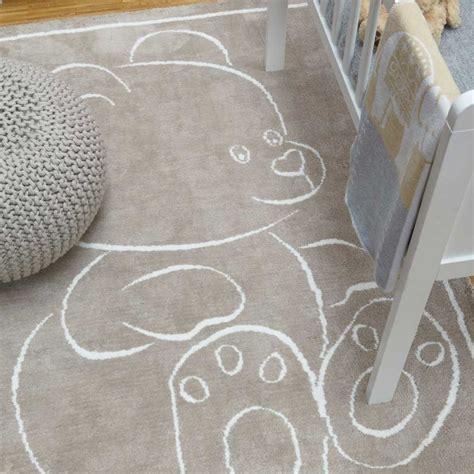 tapis chambre d enfants tapis moderne en coton beige avec motif ourson pour