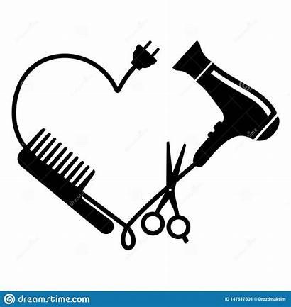 Vector Scissors Dryer Comb Hair Hairdresser Illustration