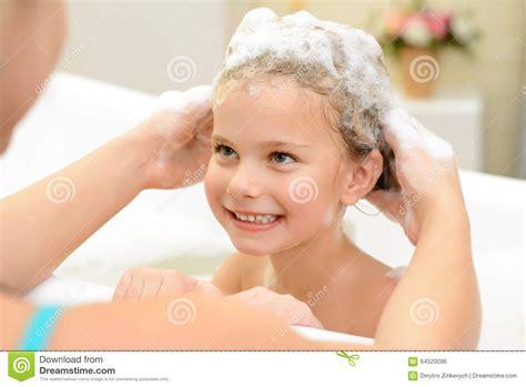 Girl Washing Her Hair Cartoon Vector