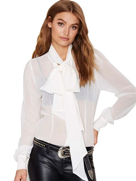 s sheer blouses see through sheer sleeve top big bow bow tie