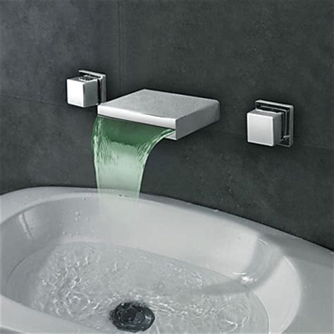 wall mounted led waterfall faucet contemporary widespread wall mount waterfall led bathroom