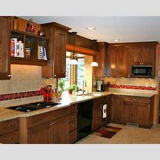 Love The Red Tile Backsplash Accent!  Kitchens