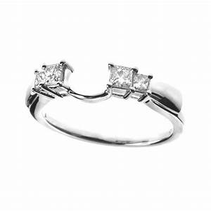 14kwg wrap wedding band with 4 princess diamonds for Wrap around wedding rings