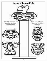 Totem Pole Coloring Native Symbols Poles Haida Joy Printable sketch template