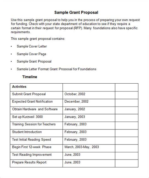 sample grant proposal templates   ms word