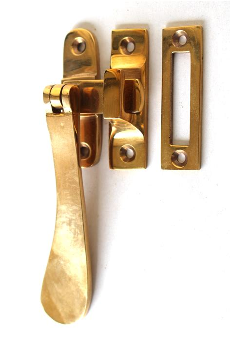 brass window casement lock latch set  flat handle  kings bay