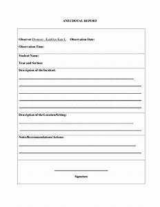 Anecdotal record form for Anecdotal assessment template