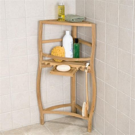 Freestanding Teak Curved Corner Shower Shelf With Pull Out