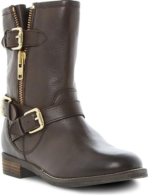 womens brown leather biker boots dune robbin biker boots for women in brown brown