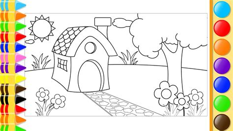 How To Draw And Color House, Trees And Flowers In The